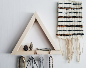 Wood Jewelry Display / jewelry organizer, necklace holder, necklace display, triangle shelf, key holder, hanging necklace holder, key hooks