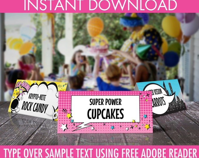 Supergirl Food Labels - Supergirl Party, Table Tent, Place Card, Buffet Tags, Superhero | Editable Text - DIY Instant Download PDF Printable
