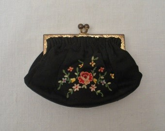 Vintage France Petit-Point Black Change Purse