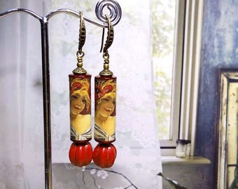 Alphonse Mucha's -- Biscuits Lefevre Utile : Art Nouveau Paper Tube Beads with Red Imitated Coral Bead Dangle Antique Bronze Hook Earrings