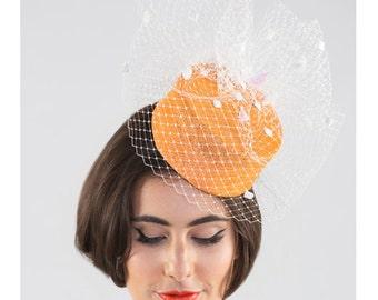 Tangerine - pillbox with white spotty veiling