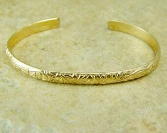 Gold Floral Patterned Cuff Bracelet / Cuff Bracelet / Gold Filled Bracelet / Gold Bracelet / Silver Floral Pattern Cuff