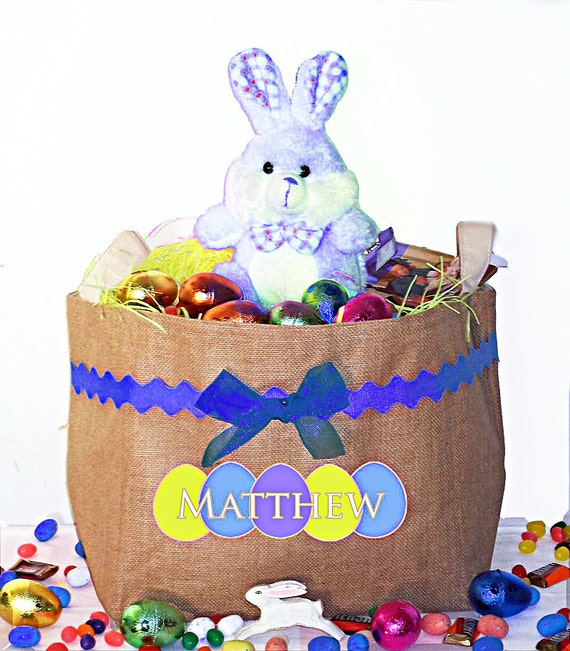 Large Easter Basket, Personalized Burlap Bunny Basket, Easter Bucket, Egg basket, bunny bags, children's easter gift, easter decoration