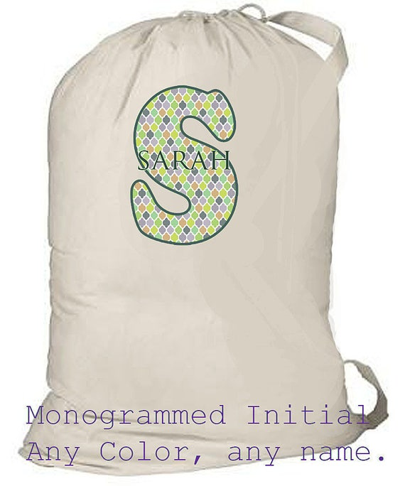 Large Laundry Bag, Monogrammed Laundry Tote, Summer Camp Bag, Summer Beach Bag, Drawstring Canvas Bag, Heavy Durable laundry totebag