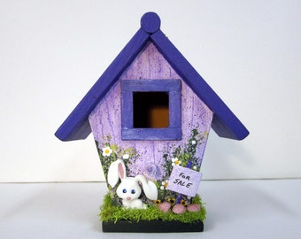 Lavender Mini Birdhouse with Bunny