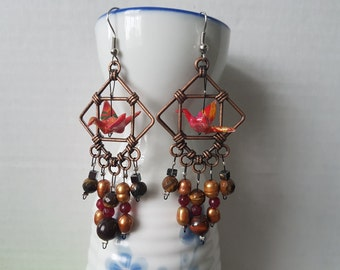 Origami crane earrings of red paper in copper hoop with tiger eye, hematite and garnet
