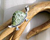 Turtle Brooch Vintage 80s Rhinestone Jewelry Green Resin Shell