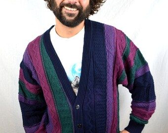 Vintage 80s Rainbow Geometric Cardigan Sweater
