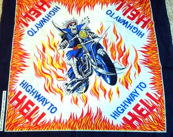 Vintage 80s Skull Fire Scarf Bandana - Highway to Hell