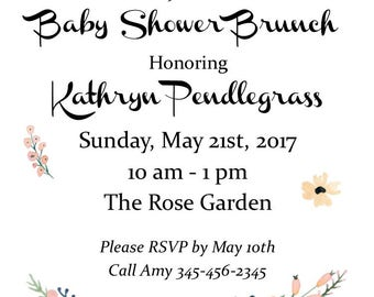 "Flowery 5""x7"" Custom Baby Shower Invitation, Thank You Cards and Diaper Raffle Digital Printable Bundle"