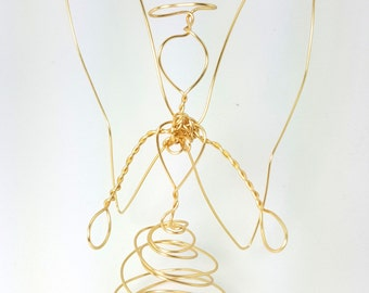 Gold Wire Angel - golden - medium-  table top decoration sculpture or tree topper- s/m , 1212