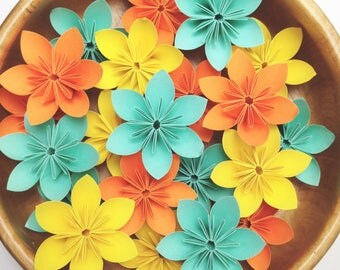 Laid-back SUMMER - Yellow, Aqua, and Orange | 100 flowers with Free shipping