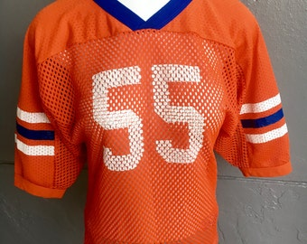 1980s #55 Orange and Blue vintage football jersey size small