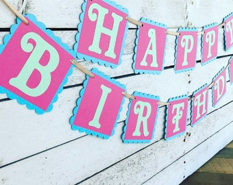 60% SALE - Woman's Happy Birthday Banner - Girl Birthday Party Decoration - Mint, Pink and Blue Birthday Decor - Ready to Ship