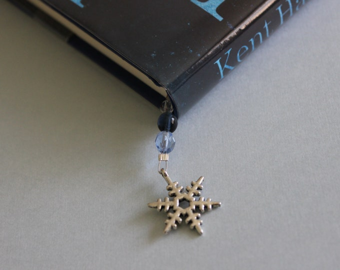 Blue Snowflake Beaded bookmark/ Book thong.