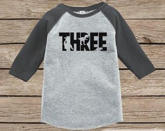 Dinosaur Birthday Shirt - Boys Third Birthday Dino Tshirt - Dino Birthday Shirt - Grey Raglan Dinosaur 3rd Birthday Shirt - Dino Three Shirt