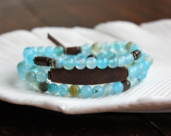 THREE Beaded Blue Agate Stretch Bracelets. Gemstone Jewelry. 3 Bracelets