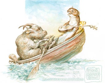 Goat in a Boat with a Stoat - original watercolor painting rowing weasel ferret singing