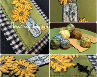 Punch Needle Pattern - Simply Sunflowers - #PN546 - Needlepunch Embroidery