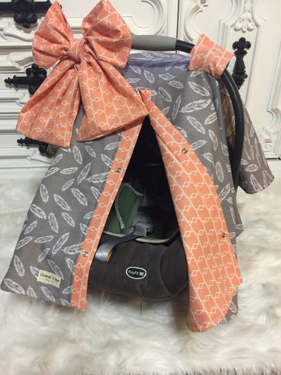 CAR SEAT COVER / carseat canopy / nursing cover / girl / carseat cover / car seat canopy / infant car seat cover / feather / peach / Bow