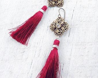 Red Tassel Earrings, Tassel Jewelry, Flower Earrings, Fringe Earrings, Red Earrings, Rhinestone Earrings