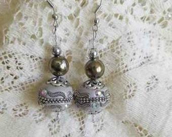 Gray Silver and Iridescent Kashmiri Bead Dangle Earrings