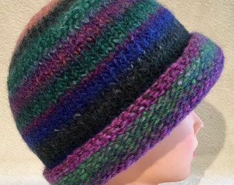 Vivid colors hand knit felted wool beanie hat with narrow brim