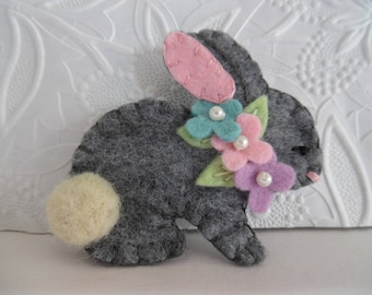Felted Bunny Brooch Easter Flowers Pin Jewelry Felt Wool  Needle Felted