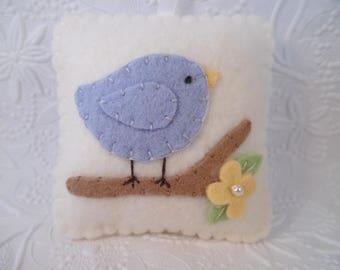 Felt Bird Pincushion Wall Hanging Pillow Art Door Hanger Penny Rug Felted Wool