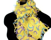 Handmade Felted Yellow Scarf Wool Felt Gift Winter Accessory