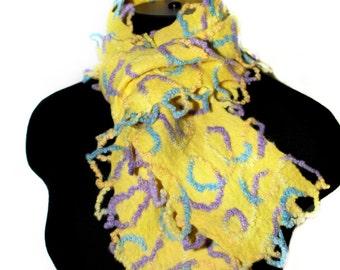 Handmade Felted Yellow Scarf Wool Felt Gift Winter Accessory