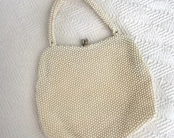 Vintage Beaded Clutch, White Purse, Ivory Clutch, Corde Bead Purse, Corde Bead, Vintage Clutch, Vintage Purse, Clutch, Purse, Beaded Clutch