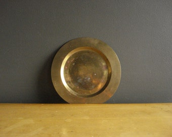 Small Brass Tray - Round Brass Saucer or Plate or Candle Holder - Brass Trinket Dish