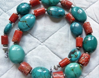 Antique Moroccan Untreated Coral and Turquoise Beads Necklace, designed  by Beadart-Austria, OOAK Statement Necklace