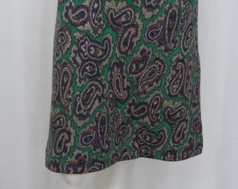 Chloe opulent paisley luxurious wool viscose blend knit skirt size M