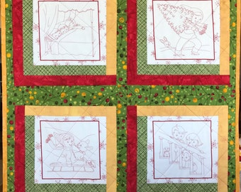 Christmas Baby Blanket, Crib Quilt, Holiday Present, Infant Shower Gift, Red Green Gold, Coloring 'Book' Kids' Crafts, Infant Bedding.