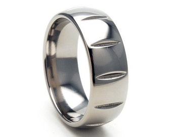 New 8mm Titanium Band, Milled Ring, Free Sizing Jewelry 4-17