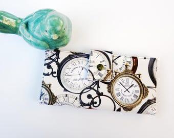 Clocks Wallet, Women's Wallet Clutch, Steampunk wallet,  Women's wallet, Antique timepiece art, steampunk art gift, train station clocks