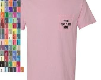 Custom Comfort Colors Garment Dyed Heavyweight Ringspun Short Sleeve Shirt w/ Pocket 6030 Vinyl Glitter Print Customized All Colors & Sizes