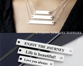 Design You Own Engraving Brass Bar Necklace Service (Size 6x50mm, 6x40mm, 6x30mm) - Wholesale Available