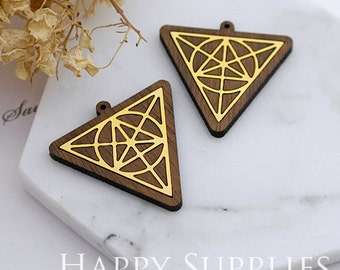 Limited Edition - 2pcs Handmade 24K Gloden Brass Wooden Charm / Pendant, Perfect for Earring Necklace (LES48)
