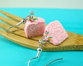 Pink Cake Earrings // Strawberry Cake with Rainbow Sprinkles // MADE TO ORDER Food Jewelry