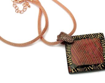 Dichroic Glass Pendant, Fused Glass Pendant, Dichroic Necklace, Square Pendant, Copper and Gold, Dichroic Glass Necklace, Large Pendant