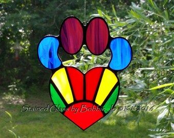Rainbow Stained Glass Dog Paw Pad with Heart Sun Catcher Great Gift for Dog Lovers!