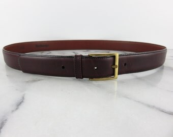 BURBERRYS Authentic Vintage Leather Belt Brown Slim Minimal Italian Brass Buckle French Calfskin 36