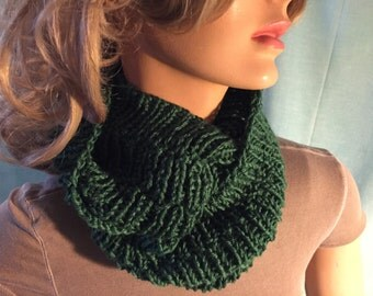 Dark Forrest Green Infinity Circular Scarf Cowl – Hand knitted