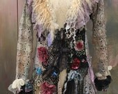 Nomad, tribal inspired, rustic cotton lace jacket,  bohemian romantic , altered couture, embroidered details