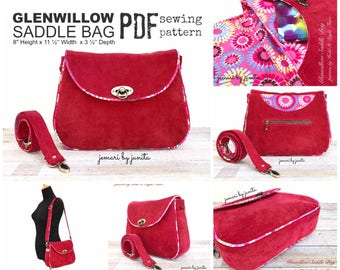 PDF SEWING PATTERN - Glenwillow Saddle Bag -  Zipper Pockets - Curved Slip Pockets - Crossbody - Piping-  Hold it Right There Sewing Pattern