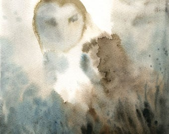 Barn owl Original watercolor painting 8x10inch