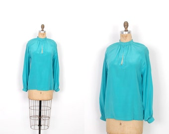 Vintage 1970s Blouse / 70s French Silk Keyhole Blouse / Teal Blue ( medium M )